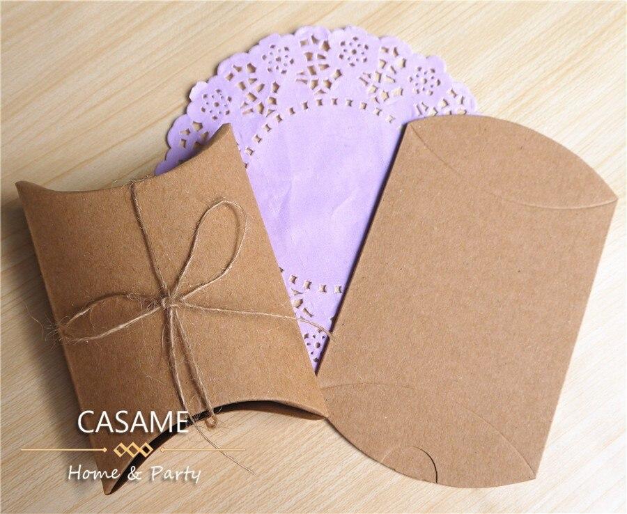 10 шт. коробка конфет сумка крафт бумага Подушка Форма свадебный подарок Коробки пирог вечерние коробка сумки эко дружественные крафт-продвижение