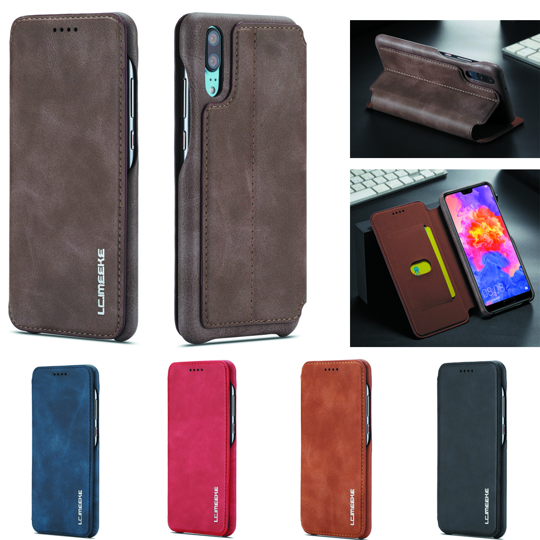 Case for Samsung Galaxy A20 A30 A70 A40 A50 Brand Book cover Logo Quality Case Luxury Thicken Leather Holder Wallet Sewing Coque