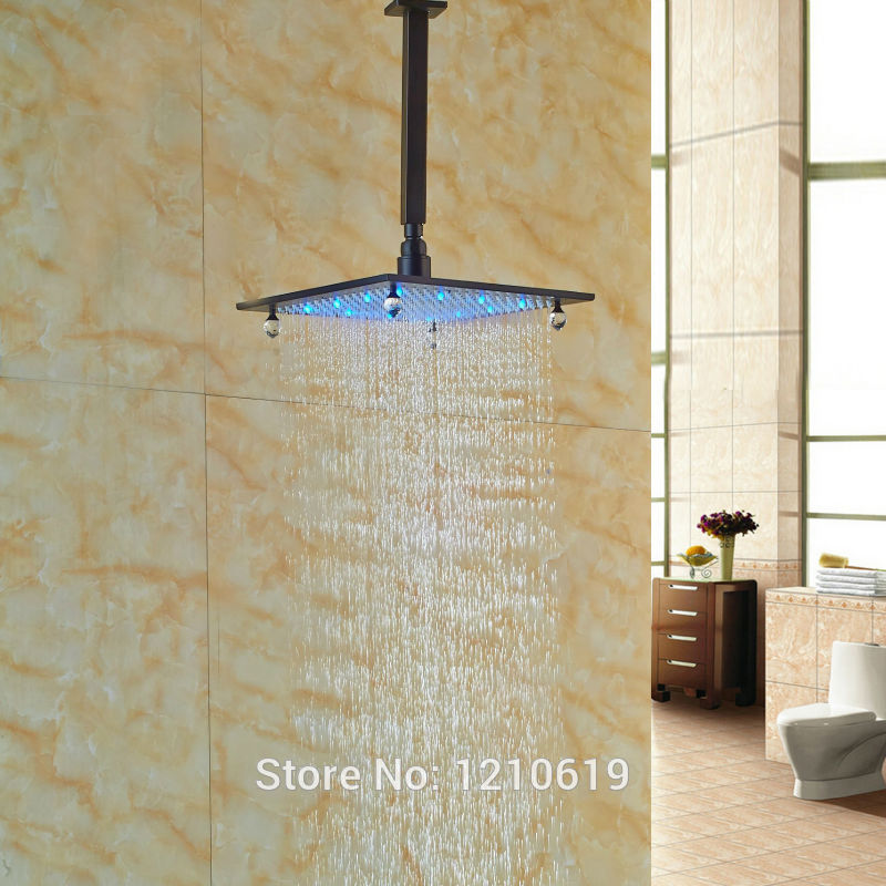 Newly Oil Rubbed Bronze Crystal Shower Head 10 Ceiling Mount LED Lights Top Shower Sprayer w/ Arm led 10 rainfall oil rubbed bronze shower head round top sprayer w wall mount shower arm