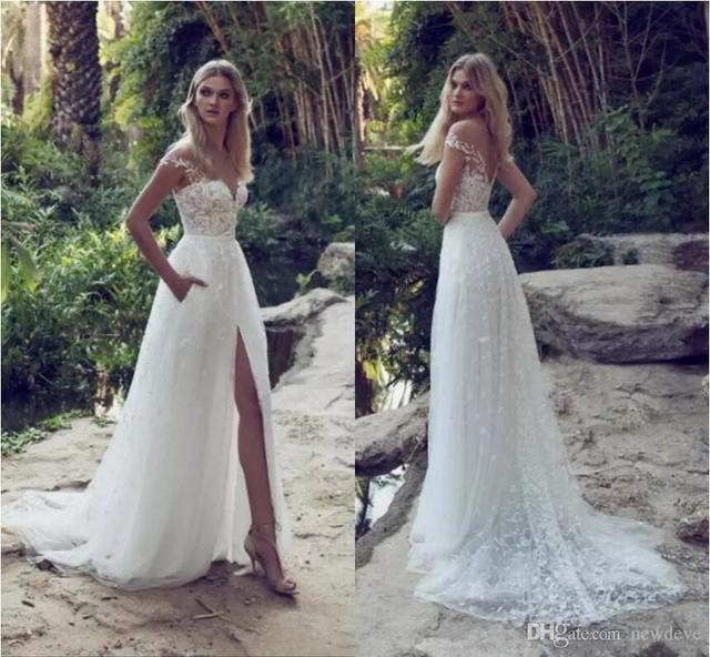 Vestido de noiva  Sexy Side Slit lace Beach Wedding Dress 2019 Latest Robe de mariee  Illusion O Neck Bridal Gown Custom Made