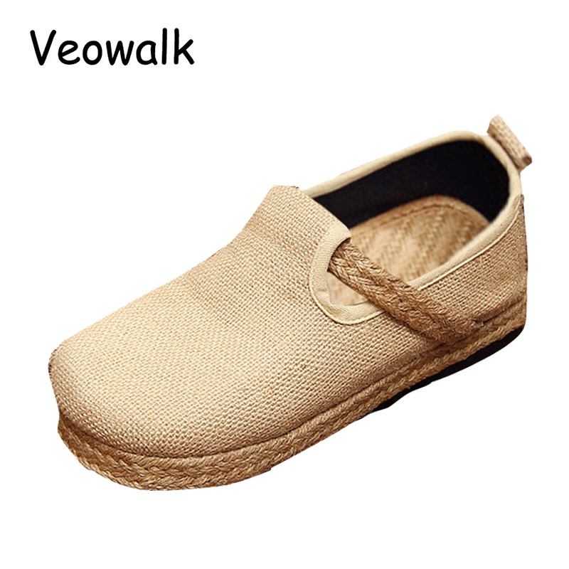 Veowalk Womens Casual Plain Linen Cotton Loafers Breathable Vintage Style Ladies Slip on Canvas Walking Flat Shoes Hemp Bottom neca planet of the apes gorilla soldier pvc action figure collectible toy 8 20cm