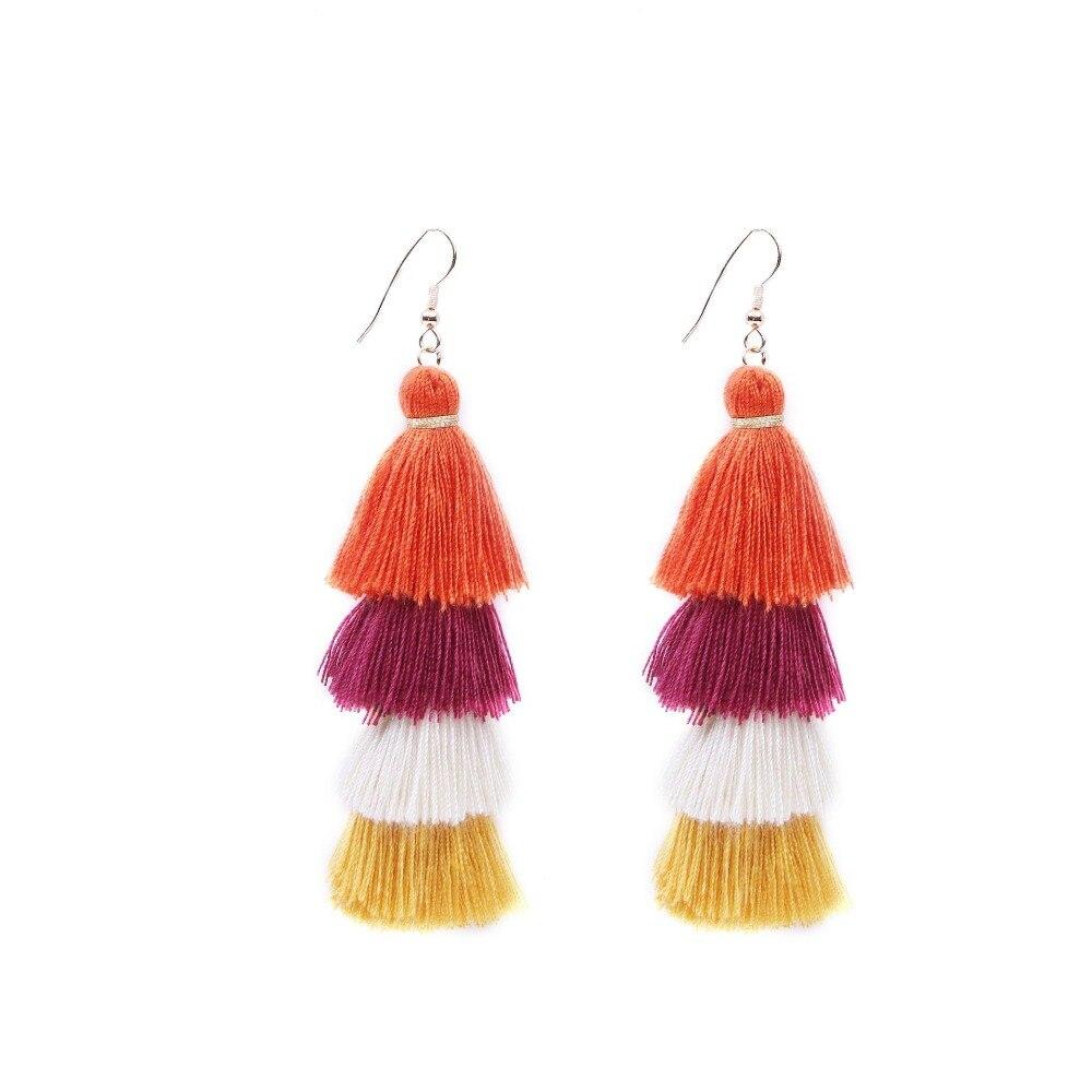 2018 Bohemian Fringe Vintage Earring Neon Tiered Long Tassel Earrings for Women Big Fashion Statement Dangle Earring N47 in Drop Earrings from Jewelry Accessories