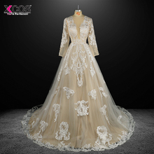 Sexy V Neck Appliques Sheer Long Sleeve Bridal Gowns Vintage Vestido De Noiva Lace Ball Gown Wedding Dresses 2017