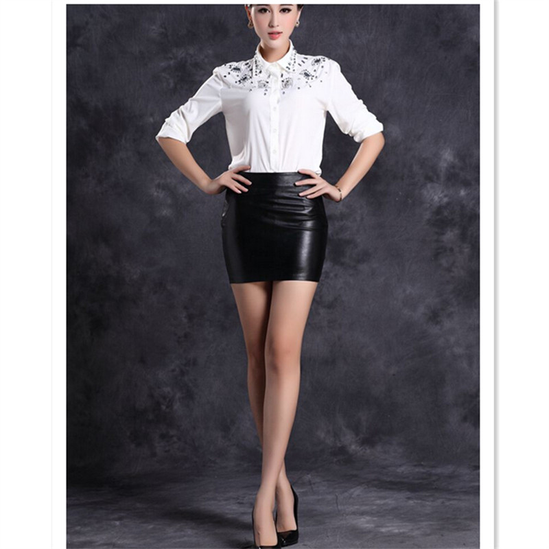 069667a5294 WBCTW 2018 Fashion Black Solid Faux Leather Sexy Bodycon Summer Jupe Crayon Skirts  Women 6XL 7XL Plus Size High Waist Mini Skirt