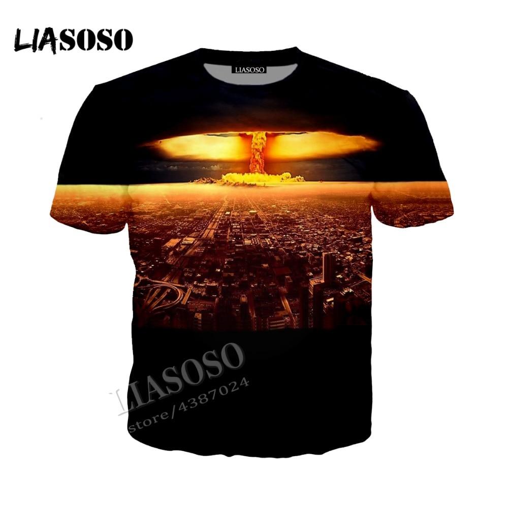 LIASOSO new printing Tshirt neutral casual T shirt top T-shirt nuclear explosion 3D printing mushroom cloud Tees CX003