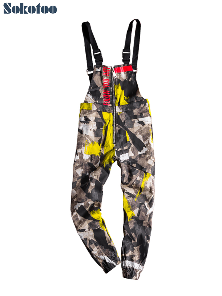 Sokotoo Men's colored camouflage printed joggers bib overalls Hip hop letters painted suspenders jumpsuits Coveralls