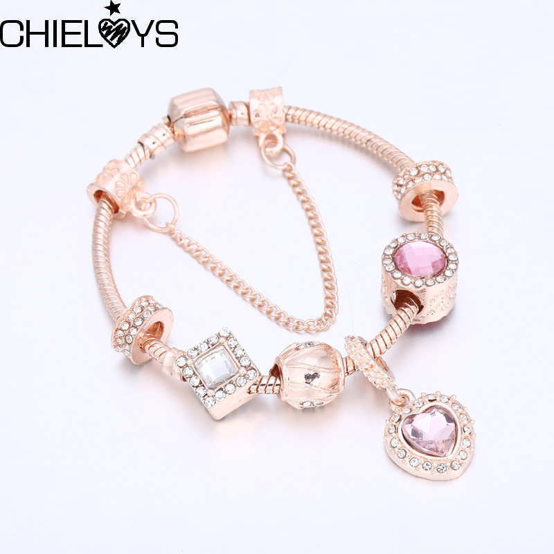 CHIELOYS Fashion European Jewelry Pink Crystal Bead Heart Pandent Charm Bracelets Lovers Gift Pandora Bracelet BA006