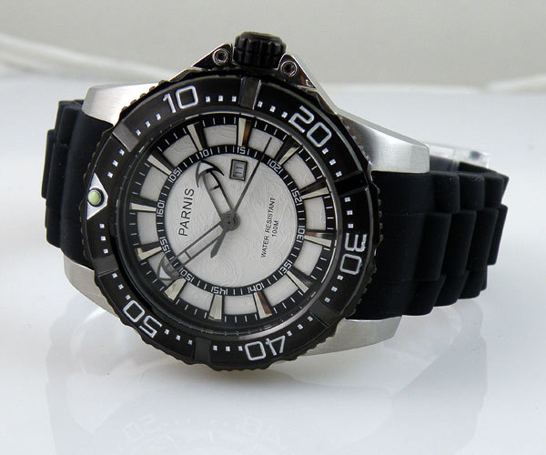 Free shipping 45mm Parnis Quartz movement white dial sports 10ATM waterproof Men watch PQ4507PW