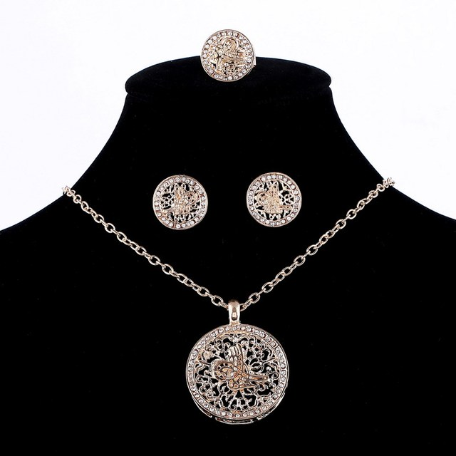 ZOSHI Gold Silver Bridal Jewelry Sets Hollow Round Pendant Necklace Earrings Ring Set for Women Anniversary High Quality Jewelry