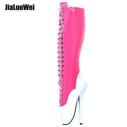 Jialuowei/балетные сапоги до колена на Ультра высоком каблуке 18 см с перекрестной шнуровкой и острым носком, Фетиш-балетки на тонком каблуке, SM