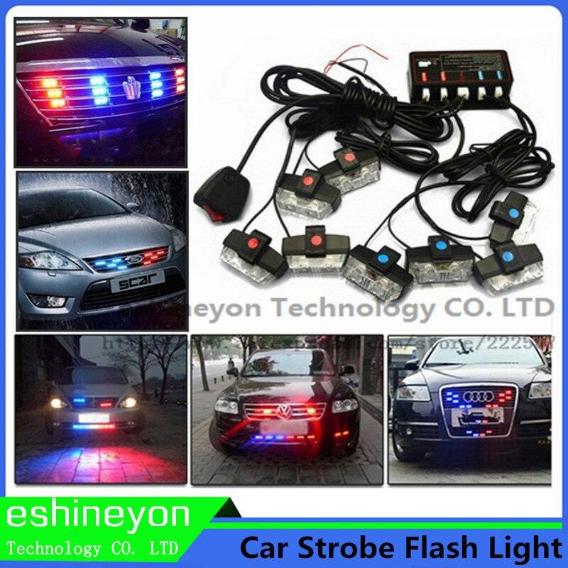 2x16led Police strobe lights car visor light dash board windshield led flash lights car warning lamp GREEN RED BLUE WHITE AMBER