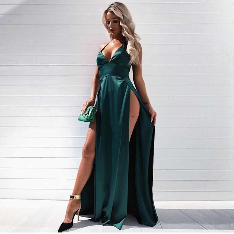 Sexy Backless Split Front Floor Length Dress Deep V Neck Party Elegant Dress  Red Satin Sleeveless 4d2c8c5b28dc