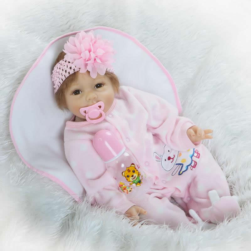 Wear Pink Romper Clothes Reborn Babies Girl Alive Doll 22'' Soft Silicone Realistic Lifelike Baby Dolls Stuff Toy Kids Xmas Gift new arrival 55cm blue eyes pink clothes lifelike baby soft girl doll with free plush toy as kids xmas gifts birthday doll toys