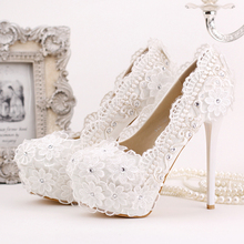 2016 White Bud Silk Chiffon Bride Shoes High Heels Dress Shoes Lighter Diamond Wedding Shoes Single Pumps for Women's Shoes 39