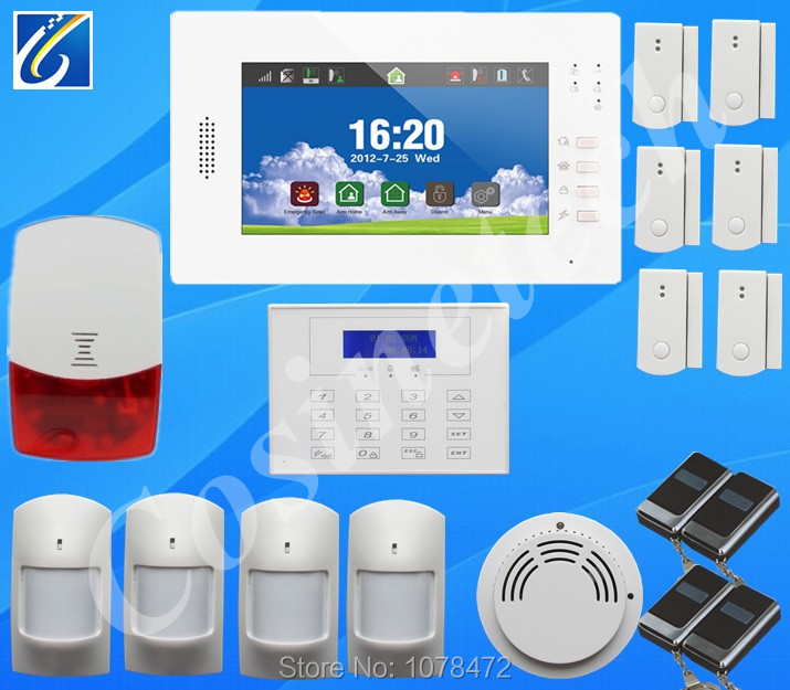 7 inch touch screen home alarm system with English/German/Italian/Dutch menu for option,kit LCD password keypad GSM alarm system gsm alarm system with multi language english german italian dutch menu for option home security 7 inch touch screen home alarm