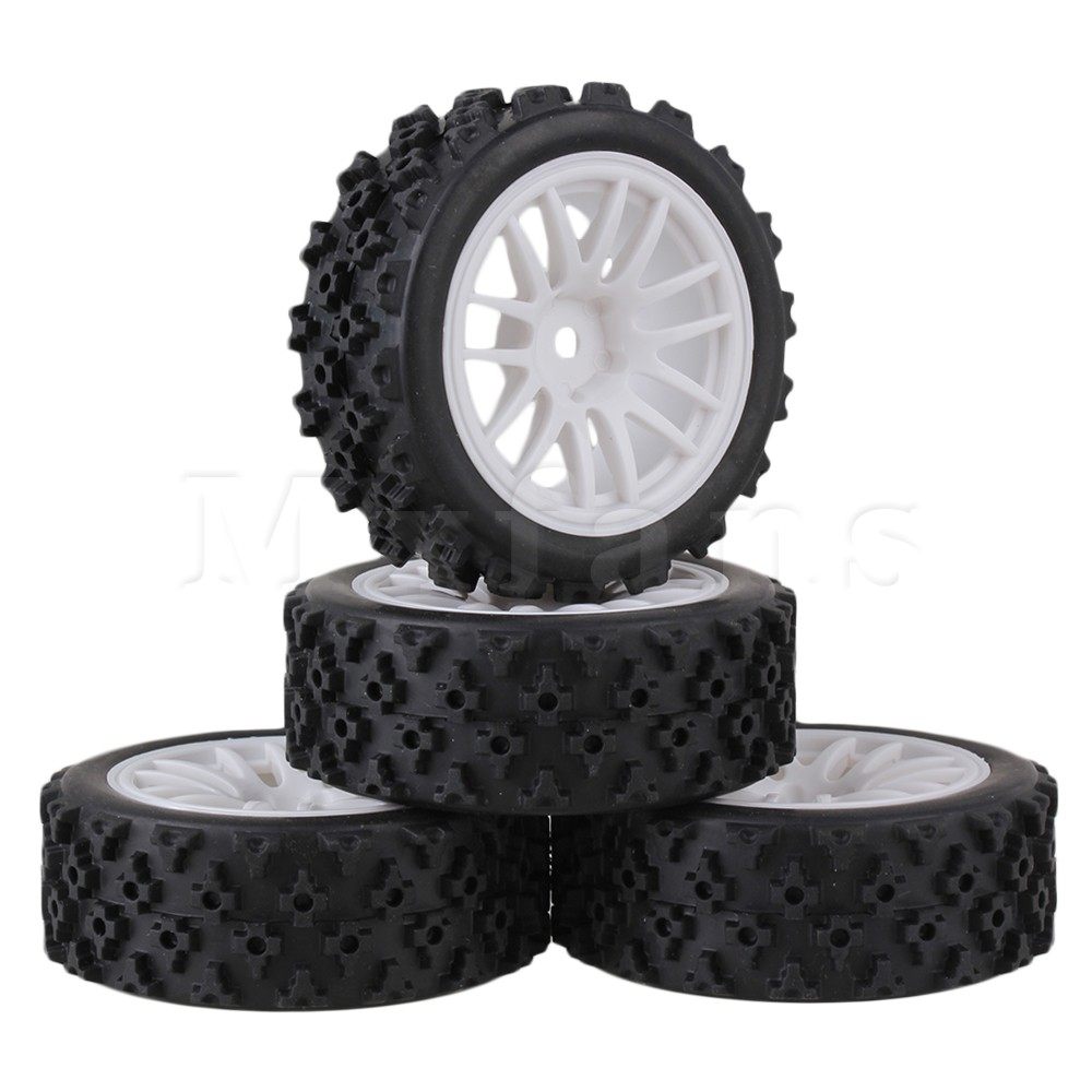 Mxfans 4 x RC 1:10 On Road Car Plastic 14 Spoke Wheel Rim + Flower Rubber Tyre недорго, оригинальная цена