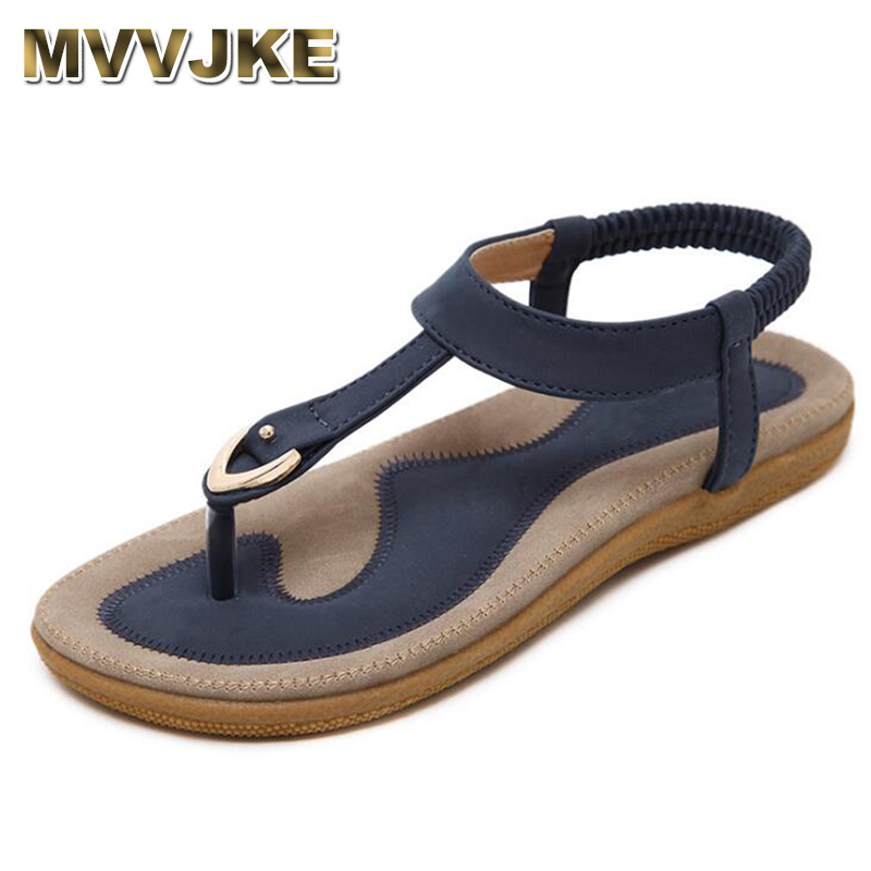 MVVJKE Summer Shoes Leather Women sandals Bohemia comfortable non-slip soft bottom flat women flip flops sandals plus size 42 women cork slipper flip flops sandals women mixed color bohemia thick bottom slides shoes open toe flat summer style plus size 8