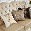 Bronzeamento luxuoso Fronha Capa de Almofada Home Decor Golden Pint Veludo Fronha/almofadas do sofá decorativo Lance 45x45 cm