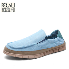 POLALI Summer Fashion Men Canvas Shoes Espadrilles Men Casual Shoes Slip on Breathable Loafers Men Flats Shoe Zapatos Hombre