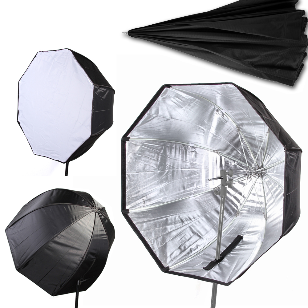 80cm 32 Umbrella Softbox Brolly Reflector Diffuser with Carbon Fiber Bracket for Speedlite Flash Light
