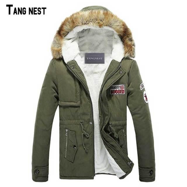 TANGNEST Men's Coat 2017 New Arrival Casual Solid Slim Fashion Thick Men's Coat Plus Size Hooded Winter Wear Coat  MWM812