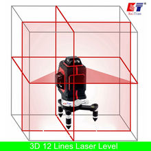 KaiTian 3D Лазерный Уровень 650nm 12 Строк Крест Уровне с Косой Чертой функции и Самовыравнивающийся Открытый 360 Поворотный Красный Лазерный Луч Инструменты