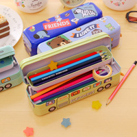 Iron Case Vehicle Pencil Case Kids School Bus Pencil Case as Gift Three Layer Large Capacity   Pull It and Run!