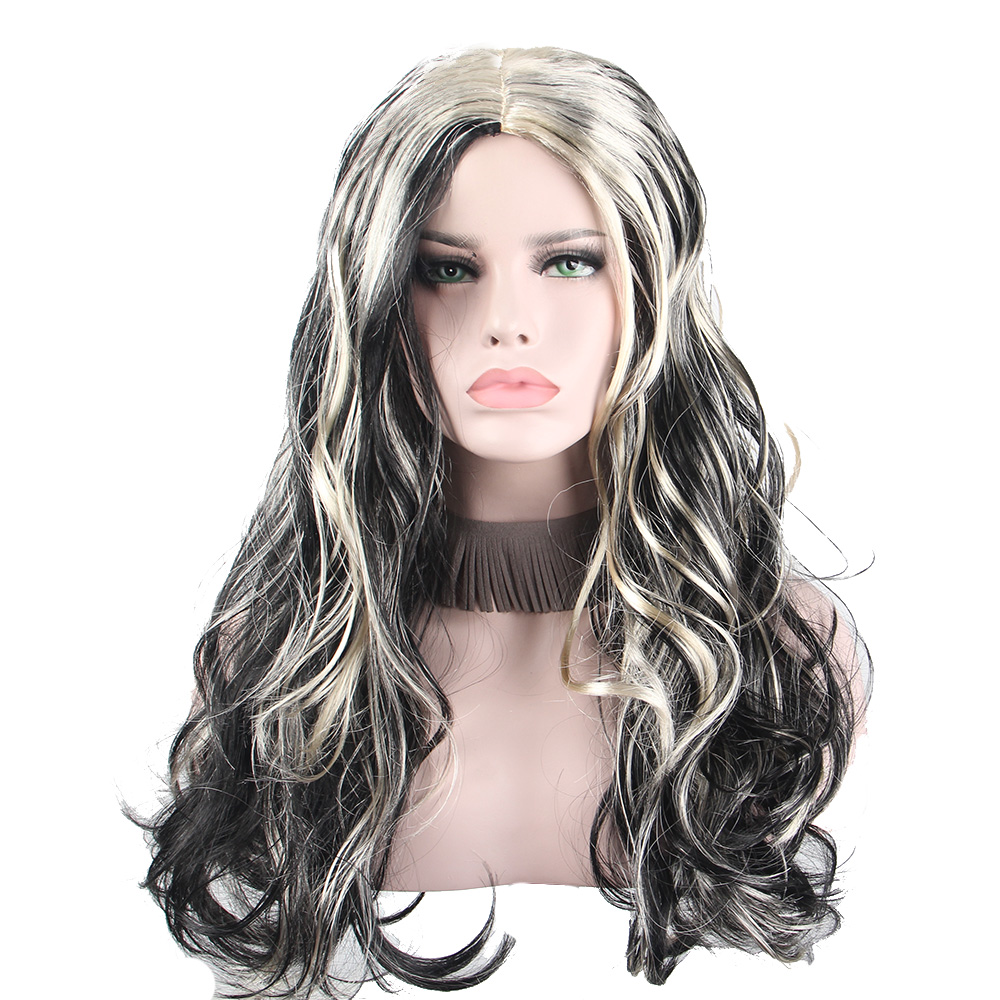 BLACK AND WHITE ANXIN Cosplay Wig Anime Holiday Party Dress up Wavy Hair Costume Cartoon Role Wigs ...