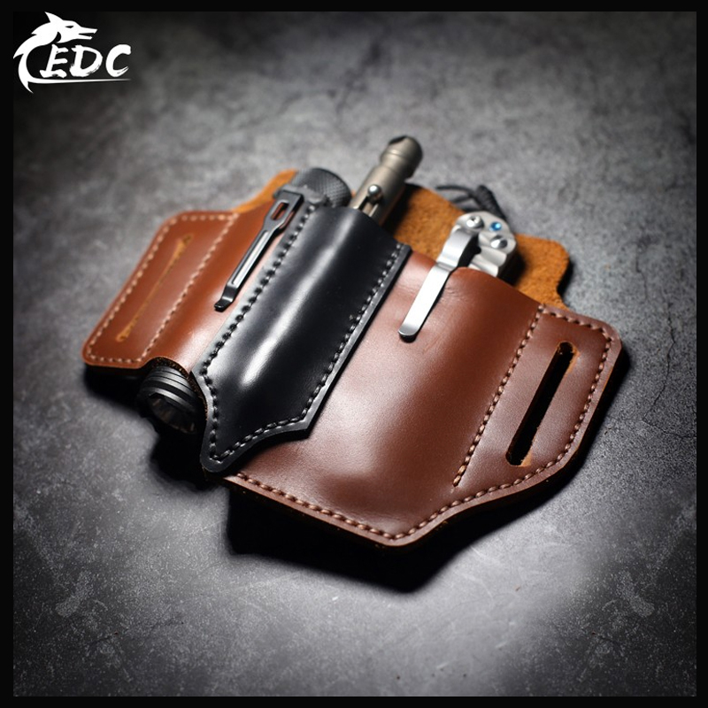 Hand Made First Layer Cowhide EDC Waist Holster Multi-function Portable Storage Leather Goods Tool Storage Multi-color Optional