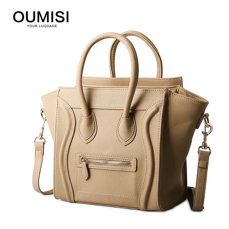 Oumisi Hot 2017 Luxury Brand Designer Classic Nano Solid Color Smiley Cross Body Tote Women Bag