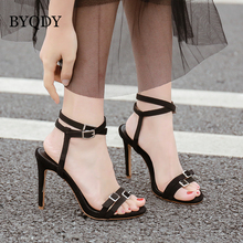 BYQDY Design Clear Transparent Stiletto Sandals Shoes T-Strap Lady High Heels Fashion Suede Party zapatos Slingbacks