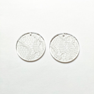 Image 4 - New arrival! 35mm 100pcs/lot clear acrylic coin shape charms for stud earrings/earrings accessories/Earring parts DIY