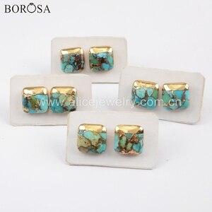 Image 5 - Borosa 5 pares boho turquesa studs 10mm banhado a ouro quadrado triângulo redondo natural turquesa brincos artesanal senhora presentes g1723