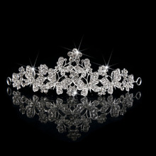 Tiaras &Crowns Queen Bride Wedding Crystal Hair Accessory Wedding Bridal European Design Jewelry Diadem Butterfly Floral Crown