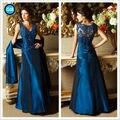 2017 Мать Невесты Платья A-Line V-образным Вырезом Royal Blue Lace Длинные Плюс Размер Невесты Мать Платья Для Свадеб