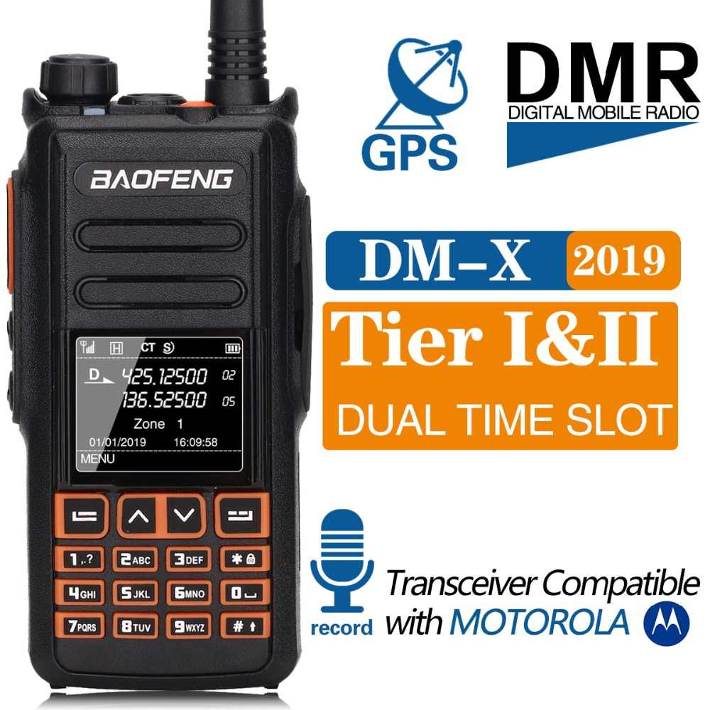 Baofeng DM-X Digital Walkie Talkie GPS Merekam Tingkat 1 & 2 Dual Band Dual Slot Waktu DMR Digital/Analog upgrade DM-1801 DM-1701 1702