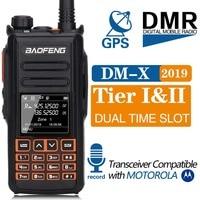 Baofeng DM X Digital Walkie Talkie GPS Record Tier 1&2 Dual Band Dual Time Slot DMR Digital/Analog Upgrade DM 1801 DM 1701 1702