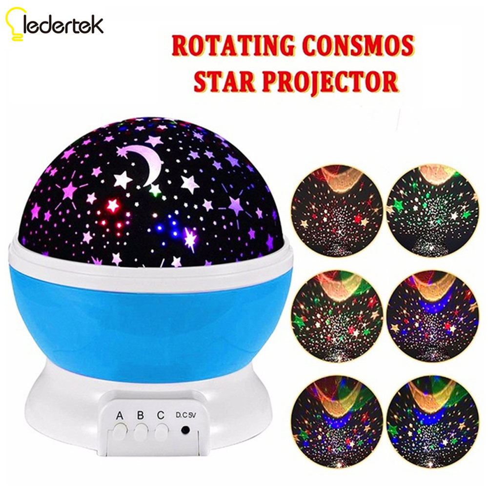 2017 New Romantic New Rotating Star Moon Sky Rotation Night Projector Light Lamp Projection with high