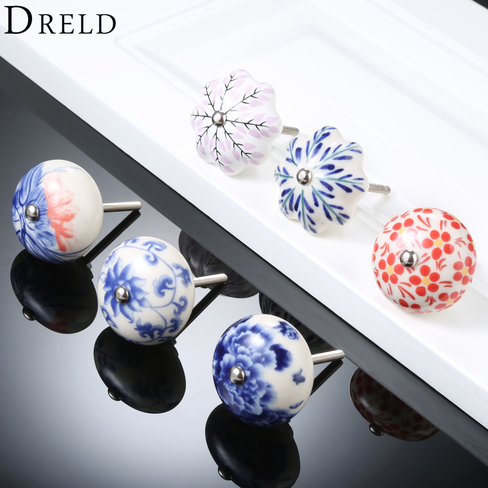 DRELD 2018 New Arrival Furniture Handle 41mm Blue and White Ceramic Cabinet Handles and Knobs Kitchen Door Cupboard Pull Handles dreld furniture handle modern cabinet knobs and handles door cupboard drawer pull handle for kitchen bedroom furniture hardware