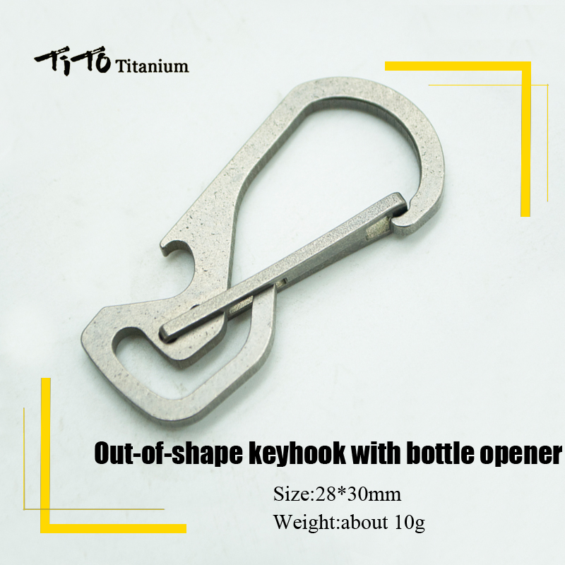 TiTo Titanium alloy out-of-shape EDC with bottle opener outdoors Key chain Hang Buckle Quickdraw Multi-Functional Key RingTiTo Titanium alloy out-of-shape EDC with bottle opener outdoors Key chain Hang Buckle Quickdraw Multi-Functional Key Ring