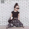 Hello Enjoy girls clothing sets 2016 New Casual girls clothes Summer style Short black T-shirt + pants baby clothing sets 2-6y