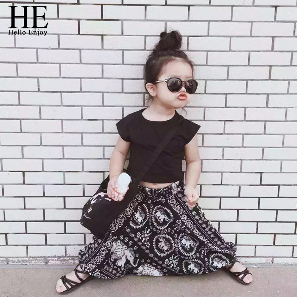 Hello Enjoy girls clothing sets 2017 New Casual girls clothes Summer style Short black T-shirt + pants kids clothes for 2-6T 2017 new style fashion mom and girls short sleeve letter t shirt dot black skirt set summer kids casual clothes parenting 17f222