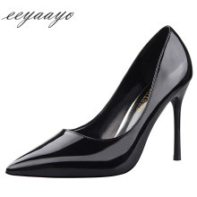 2019 New Spring/Autumn Women Pumps High Thin Heel Pointed Toe Solid Casual Sexy Ladies Shoes Black Female