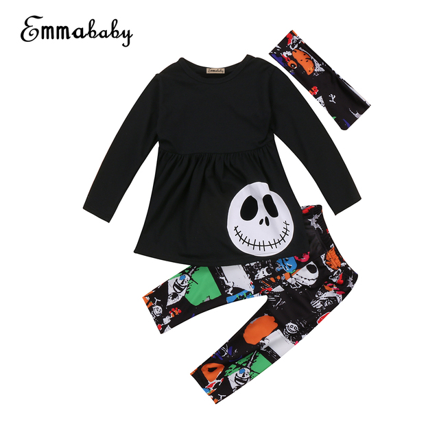 efe36ba5938a 3PCS Autumn baby clothes Baby Girls Long Sleeve Skeleton Print Tops ...