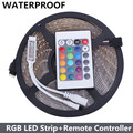 Waterproof 3528 RGB LED Strip 300Led/5M SMD+ 24key Mini IR Remote Controller DC 12V Changeable Strip Light Free Shipping