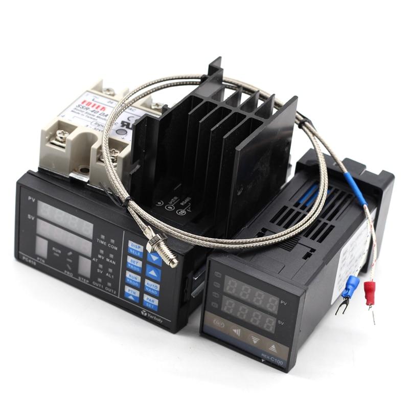 REX C100 Digital PID Temperature Controller Thermostat SSR Max 40A SSR K Probe Heat Sink PC410