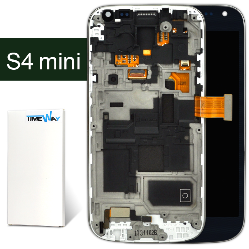 DHL 10pcs For Samsung s4 mini i9190 i9195 LCD with Touch Digitizer with frame assembly screen one piece