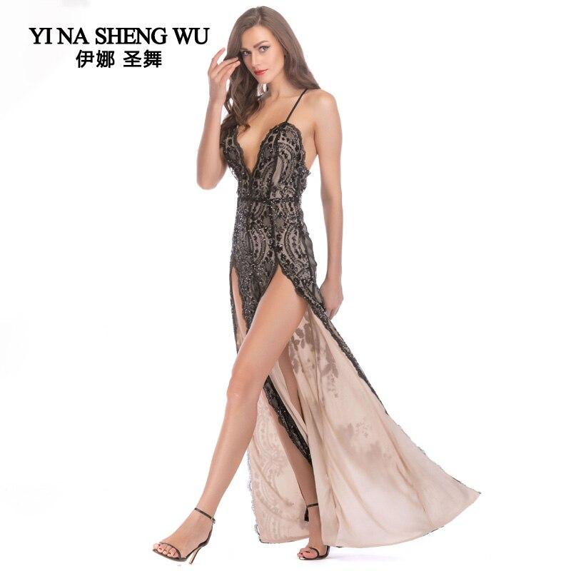 Adulte sexy robe sans bretelles Club salle de bal longues robes femmes paillettes fronde dos nu longue danse vêtements fendu des deux côtés