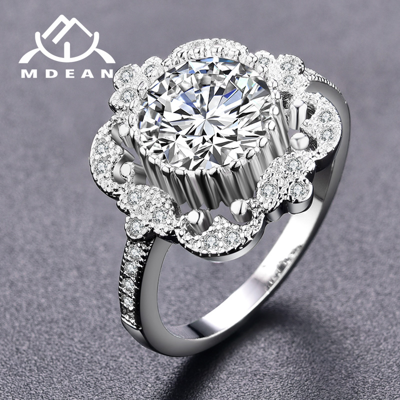 MDEAN Noble White Gold Color Wedding Engagement Rings for Women Fashion Clear AAA Zircon Jewelry Bague Bijoux Size 6 7 8 H833