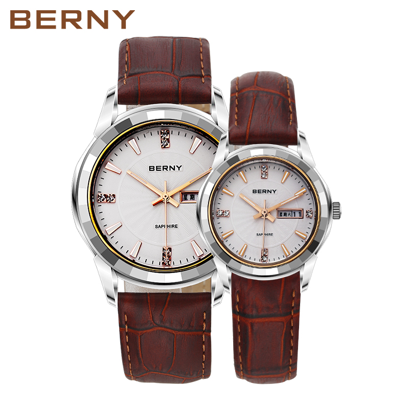 BERNY Couple Lovers Quartz Watches Women&Men Pair Gold Leather Waterproof Date Clock Fashion Casual Analog Quartz Watches 2771 gold sliver leather analog fashion
